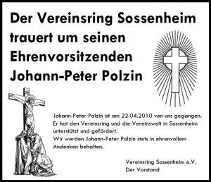 Todesanzeige Johann Peter Polzin